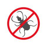 Fästingkrypkontur Symbol för kvalsterhjortfästingar Farlig svart parasit Förbud inget för stoppvarning för symbol rött runt tecke Arkivfoton