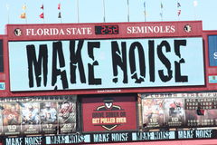 FSU Football MAKE NOISE. MAKE NOISE sign during the football game against North carolina State in Doak Campbell Stadium on October 29, 2011 in Tallahassee stock image