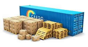 40 ft cargo container and shipping pallets with cardboard boxes. Creative abstract cargo freight transportation, shipping, logistics, delivery and distribution Stock Photography