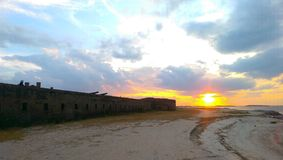 Ft. Clinch. Sunset at Ft. Clinch, Amelia Island Stock Photo