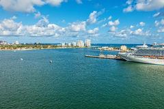 Ft. Lauderdale. Aerial view of Ft. Lauderdale and Port Everglades along the intercoastal waterway Stock Photography