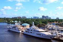 Ft. Lauderdale Beach. Fort Lauderdale beach skyline with the intercoastal and expensive yachts in foreground Stock Images