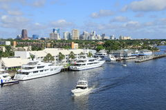 Ft. Lauderdale Skyline. The city skyline of Ft. Lauderdale, Florida  with the intercoastal and expensive yachts in foreground Stock Image