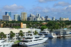 Ft. Lauderdale Skyline. The city skyline of Ft. Lauderdale, Florida  with the intercoastal in foreground Stock Photos