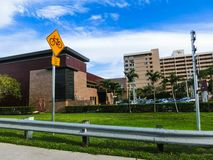 Ft.Lauderdale, USA - May 12, 2018: The buildings at Ft.Lauderdale. Ft.Lauderdale, USA - May 12, 2018: The road and The buildings at Ft.Lauderdale with palm trees royalty free stock photography