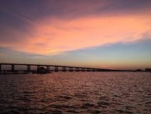 Ft Myers FL Bridge. US 41 sunset river Stock Images