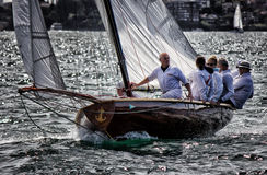 18ft Skiff. SYDNEY,AUSTRALIA - NOVEMBER 17,2012: Members of Sydney Flying Squadron sail their 18-foot Skiff in the SFS weekly Saturday Afternoon race. The SFS is Stock Images