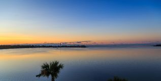 Ft. Walton Beach Side View of Choctawhatchee Bay Sunrise. Image taken during blue hour just before golden hour Royalty Free Stock Photo