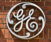 Ft Wayne - circa agosto 2017: Logo della fabbrica di General Electric Le divisioni di GE comprendono l'aviazione, l'energia, la s Fotografia Stock Libera da Diritti