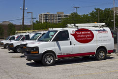 Ft. Wayne, IN - Circa July 2016: Frontier Communications Vehicles In Front of a Central Office II Stock Image