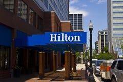 Ft Wayne, DENTRO - cerca do julho de 2016: Hilton Hotel Location do centro Hilton é um tipo global de hotéis do serviço completo  Imagens de Stock Royalty Free