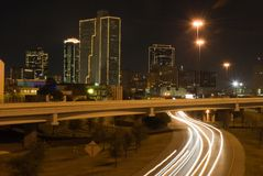FT Worth (night). Commute home on I-30 in Ft. Worth, Texas at night stock photography