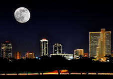 Ft. Worth Nights. FT. Worth Texas at Night. Big Texas Moon with Ft. Worth skyline. Photo shot over the Trinty River Royalty Free Stock Photos