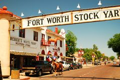 Ft Worth Stock Yards. A Cowboy on Horseback Patrols the Ft Worth Stock yards in Texas stock image