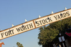 """Ft Worth Stock Yards Sign. """"Ft Worth Stock Yards"""" sign on angle. The """"Stock Yard"""" area  of Ft Worth is also refered to as """"Cowtown Royalty Free Stock Image"""