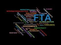 FTA - ordmolnwordcloud - uttryck från den globalisering-, ekonomi- och politikmiljön royaltyfri illustrationer