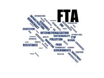FTA - woordwolk wordcloud - termijnen van het globalisering, economie en beleidsmilieu royalty-vrije illustratie