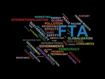 FTA - word cloud wordcloud - terms from the globalization, economy and policy environment. Wordcloud with series of terms from the globalization, economy and Royalty Free Stock Photos