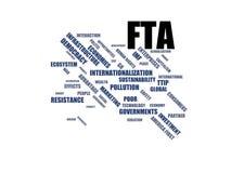FTA - Wortwolke wordcloud - Ausdrücke von der Globalisierungs-, Wirtschafts- und Politikumwelt lizenzfreie abbildung