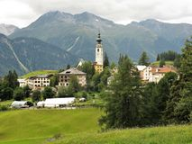 Ftan village near Scuol in the Lower Engadine, Switzerland Royalty Free Stock Photos