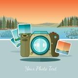 Ftat icon camera with photo on landscape background Stock Photo