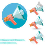 Ftat icon  megaphone or loudspeaker with oval  long shadow and folded corner Stock Photo