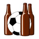Fútbol y cerveza Imagen de archivo