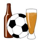 Fútbol y cerveza Imágenes de archivo libres de regalías