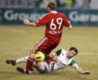 FTC vs. DVSC-TEVA Hungarian football game Royalty Free Stock Photos