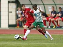 FTC vs. Videoton OTP Bank League football match Stock Image