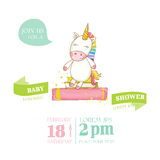 Fête de naissance ou carte d'arrivée - bébé Unicorn Girl Images stock