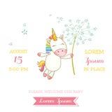 Fête de naissance ou carte d'arrivée - bébé Unicorn Girl Image stock