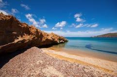 Ftelia海滩在米科诺斯岛 库存图片