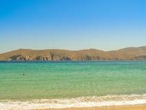 Ftelia beach in Mykonos aegean sea in Greece Royalty Free Stock Photography