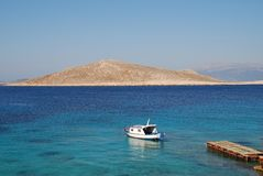 Ftenegia boat, Halki Stock Photos
