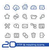 FTP & хостинг линии серии //значков Стоковое фото RF