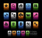 FTP &主持图标//颜色盒 库存照片