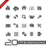 Ftp & ospitare la serie di principi fondamentali di // delle icone Immagini Stock Libere da Diritti