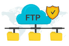 FTP concept with three folders. Vector concept secure FTP connection. Online cloud with antivirus shield and three yellow file folders connected with it on world Stock Photos