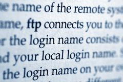 FTP connect. CLose up of FTP connect Stock Image