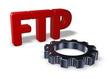 Ftp-etikett och kugghjulhjul Fotografering för Bildbyråer