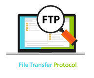 FTP file transfer protocol computer icon symbol illustration. Vector Stock Image