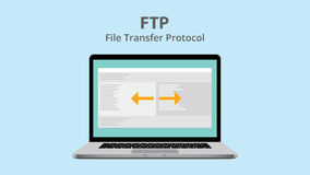 Ftp file transfer protocol with data exchange on laptop. Vector illustration Stock Photo