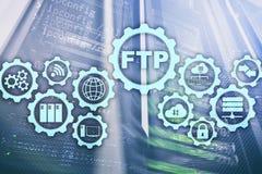 ftp File Transfer Protocol Dati di trasferimento della rete al server sul fondo del supercomputer illustrazione vettoriale