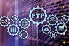 ftp File Transfer Protocol Donn?es de transfert de r?seau au serveur sur le fond d'ordinateur g?ant photo stock
