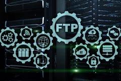 ftp File Transfer Protocol Donn?es de transfert de r?seau au serveur sur le fond d'ordinateur g?ant images stock