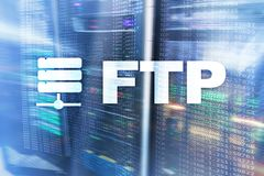 FTP - File transfer protocol. Internet and communication technology concept. FTP - File transfer protocol. Internet and communication technology concept stock photos