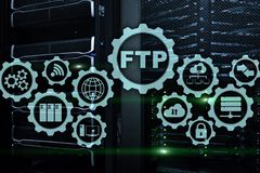 FTP. File Transfer Protocol. Network Transfer data to server on supercomputer background. FTP. File Transfer Protocol. Network Transfer data to server on stock images