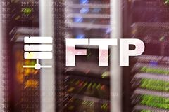 FTP. File Transfer Protocol. Network Transfer data to server on supercomputer background.  stock image