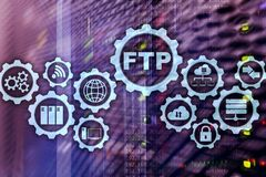 FTP. File Transfer Protocol. Network Transfer data to server on supercomputer background. FTP. File Transfer Protocol. Network Transfer data to server on stock photo
